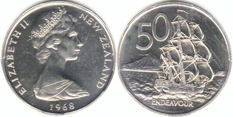 Old New Zealand 50 cent coins featuring the Endeavour