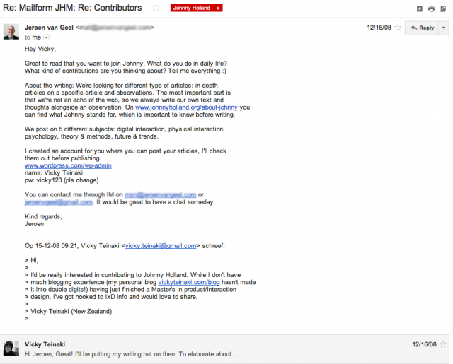 Email from Jeroen