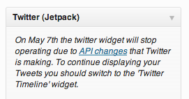 Image of Depreciated Twitter Jetpack Widget